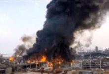 صورة عاجل.. للمرة الثانية اندلاع حريق بمرفأ بيروت.